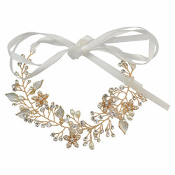F-0432 Fashion Lace Flowers Crystal Pearl Beads Silk Chain Hairband Bridal Wedding Hair Accessories Jewelry