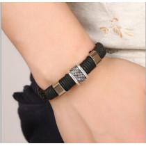 B-0868 Punk Men Brown Black Leather Lion Head Bracelets Party Fashion Accessories