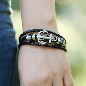 B-0867 Europe Style Men & Women Punk Retro Alloy Cowhide Wide  Leather Bracelet with Anchor