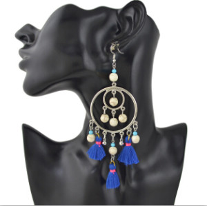 E-4373 5 colors Ethnic Handmade Thread Tassel Drop Earrings for Women Bohemian Fashion Jewelry Accessories