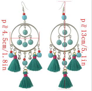 E-4373 5 colors Ethnic Handmade Thread Tassel Drop Earrings for Women Bohemian Fashion Jewelry Accessories