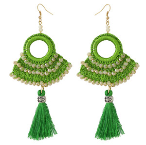 E-4372 Ethnic Handmade Hoop Beaded Thread Tassel Drop Earrings Jewelry Accessories