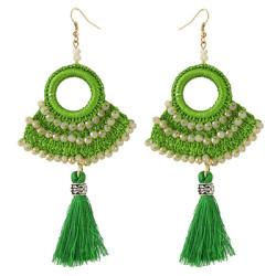 E-4372 Ethnic Handmade Hoop Beaded Thread Tassel Drop Earrings Jewelry Accessories