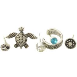 E-4377 6Pcs/set Tortoise Shape Silver Metal Rhinestone Stud Earrings for Women Bohemian Party Fashion Accessories