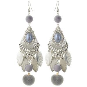 E-4378 Bohemian Fashion Jewelry 5 colors Silver Plated Bead Plush ball pendant Drop Earrings