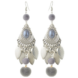E-4378 Bohemian Fashion Jewelry 5 colors Silver Plated Bead Plush ball pendant Drop Earrings