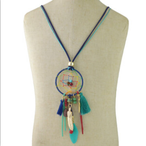 N-6950 1 colors Fashion Lady Vintage Tassel Feather Necklace Long Pendant Jewelry for Women