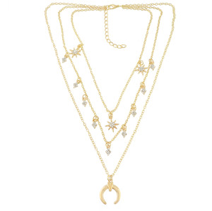 N-6936 New Fashion Gold Silver Plated Rhinestone star moon pendant Necklace