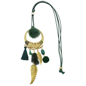 N-6954 New Gold Plated Tassel Charm turquoise thread leaf Plush ball pendant Necklace Jewelry