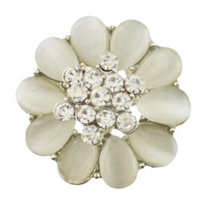 P-0386 New Fashion Gold Silver Plated Alloy Pearl Flower Shape Crystal Rhinestone Scarf Buckle Brooch Women & Girl Accessory