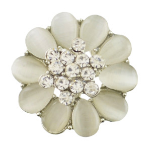 P-0386 New Fashion Gold Silver Plated Alloy Pearl Flower Shape Crystal Rhinestone Scarf Buckle Brooch Women & Girl Accessory