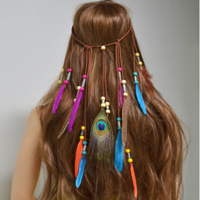 F-0469 Handmade Ethnic Tribal Gypsy Turkish Rope Wood Beads Feather Hairband Hair Clip Hair Jewelry For Women & Girls Jewelry