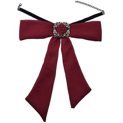 N-6958 Ribbon Chain Big Chiffon Bowknot Rhinestone Flower Button Choker Necklace