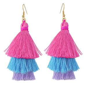 E-4383 3 Colors Gold Plated Thread Tassel Earrings