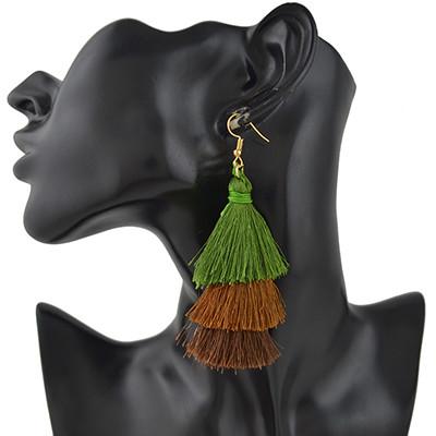 E-4383 3 Colors Gold Plated Thread Tassel Earrings