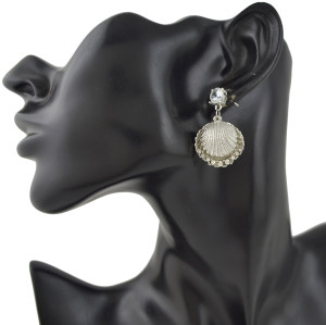 E-4380 Fashion New Arrival Shell Pearl Crystal Charm Sea Earring for Women Jewelry