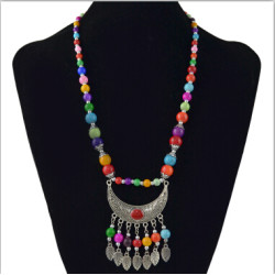 N-6960 2 style Bohemian Vintage Colorful Acrylic Bead Chain Alloy Moon Leaves Tassel Pendant Choker Necklace for Women Costume Jewelry