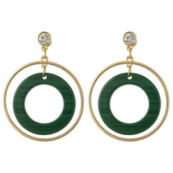 E-4387 3 Colors Korean Style Gold Plated Hoop Acrylic Circle Crystal Dangle Earrings