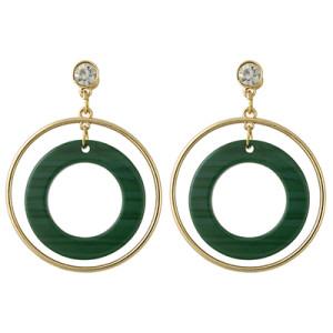E-4387 3 Colors Korean Style Gold Plated Hoop Acrylic Circle Crystal Dangle Earrings