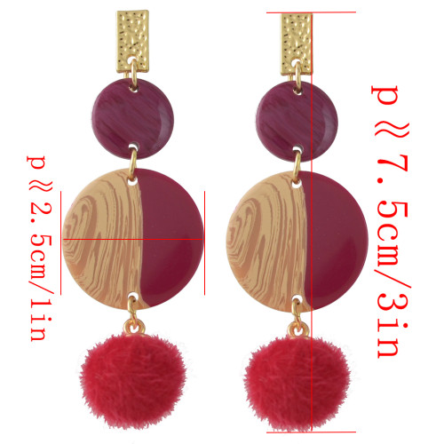 E-4385 New Fashion Gold Plated red grey Acrylic Ball pendant Earrings Accessories