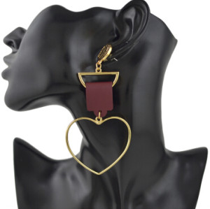E-4388 New Fashion Big Heart Shape Drop Earrings for Women Ladies Wedding Party Jewelry Birthday Gift