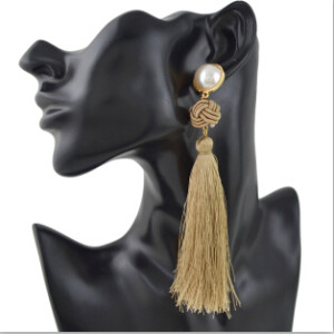 E-4389 6 Colors Bohemian Thread Tassel Pearl Drop Earrings for Women Ladies Party Anniversary Birthday Gift