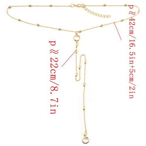 N-6957 New Fashion Silver Plated bead chain Crystal pendant Necklace