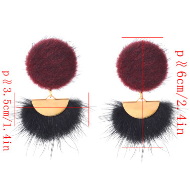 E-4391 Fashion Black Wine Color Fur Ball Drop Earrings for Women Bohemian Wedding Party Accessories