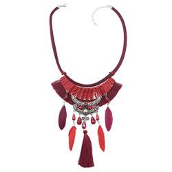 N-6959 Bohemian Thread Feather Acrylic Gem Leather Pendant Necklace
