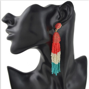 E-4394 Fashion Colorful Resin Beads Statement Earrings for Women Wedding Party Jewelry Birtday Gift
