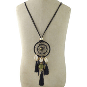 N-6964 New Leather Charm Shell  thread Tassel ball pendant Necklace For Women Jewelry