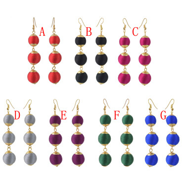 E-4397 7 Colors Cute Thread Pom Pom Ball Drop Earrings for Women Ladies Party Fashion Jewelry