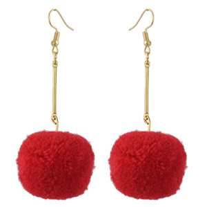 E-4395 5 Colors Cute Gold Plated Woolen Pom Pom Earrings