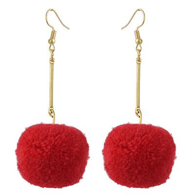 E-4395 5 Colors Cute Gold Plated Woolen Pom Pom Earrings