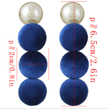 E-4396 7 Colors Pearl Pom Pom Ball Statement Drop Earrings for Women Ladies Weddding Party Fashion Accessories