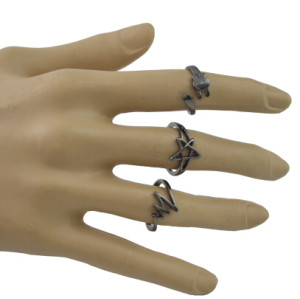 R-1490 5Pcs/Set Bohemain Black Alloy Midi Finger Rings for Women Wedding Party Fashion Jewelry