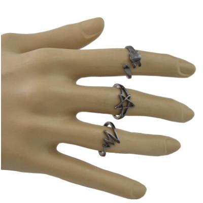 R-1490 5Pcs/Set Bohemain Black Alloy Midi Finger Rings for Women Wedding Party Fashion Jewelry