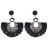 E-4398 New Fashion Vintage Style Carving Metal Button Shape Thread Dangle Earrings