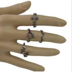 R-1491 5Pcs/Set Bohemain Black Alloy Midi Finger Rings for Women Wedding Party Fashion Jewelry