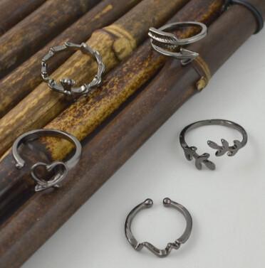 R-1491 5Pcs/Set Bohemain Black Alloy Midi Finger Rings for Women Wedding Party Fashion Jewelry