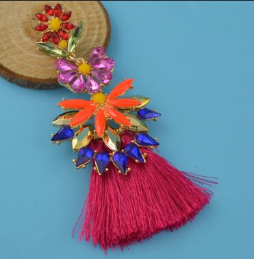 E-4400 7 Colors Golden Alloy Acrylic Crystal Gem Silk Thread Tassel Shourouk Earrings