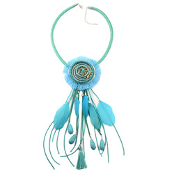 N-6966 Bohemian Style Dream Catcher Feather Stone Thread Tassel Statement Necklace