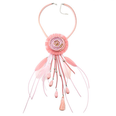 N-6966 Bohemian Style Dream Catcher Feather Stone Thread Tassel Statement Necklace
