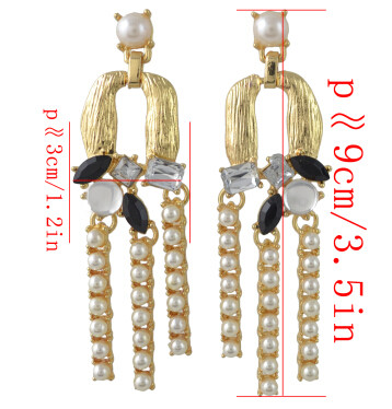 E-4403 4Colors Fashion Gold Metal Pearl Rhinestone Statement Drop Earrings for Women Ladies Wedding Party Jewelry