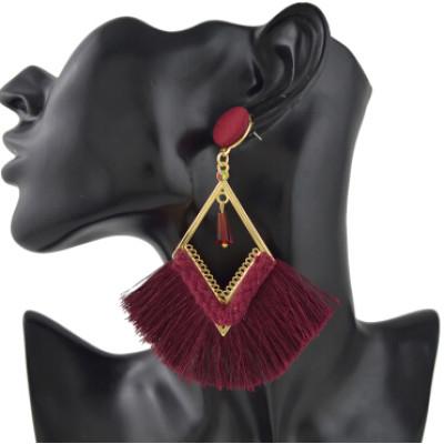 E-4408 3 Colors Bohemian Long Fringe Tassel Drop Earrings for Women Wedding Party Birthday Gift