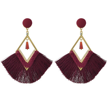E-4408 3 Colors Bohemian Long Fringe Tassel Drop Earrings for Women Wedding Party Birthday Gift