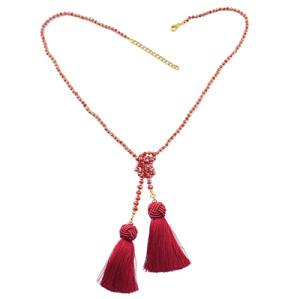 N-6961 Fashion New Style Acrylic Beaded Chain Silk Thread Tassel Necklace