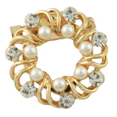 P-0387 New Fashion personality Gold Silver Plated Alloy Pearl Crystal Rhinestone Scarf Buckle Brooch Accessory