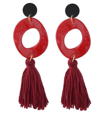 E-4409 Fashion Women Acrylic Thread Tassel Long Drop Earrings Bohemian Wedding Party Jewelry