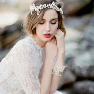 F-0470 Fashion Copper Alloy Flowers Crystal Pearl Beads Silk Chain Hairband Bridal Wedding Hair Accessories Jewelry